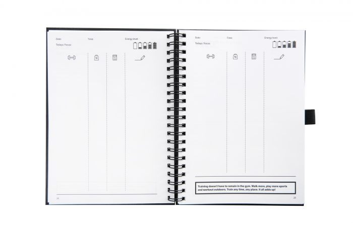 Log pages used to record exercises and workouts