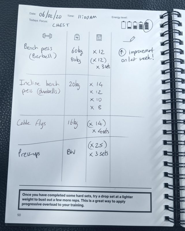 Example log for chest training